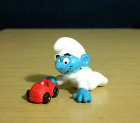 Smurfs 20215 Baby Smurf Red Car Vintage Figure PVC Toy Figurine 1985 HONG KONG