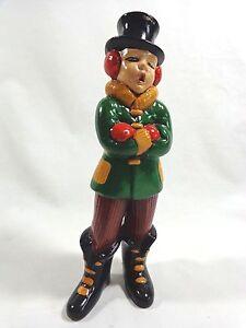 "Victorian Caroler Boy Figurine 9"" Green Jacket Hand Painted Vintage Christmas"
