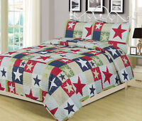 Full/Queen or King Rustic Star Quilt Set Country Primitive Bedding Coverlet Red