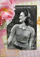 "Vintage 1940s Knitting Pattern Lady's 'Stylish'  Cardigan Fit 34"" Bust. FREE P&P"
