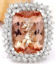 14.70CTW NATURAL MORGANITE AND DIAMOND RING IN 14K WHITE GOLD