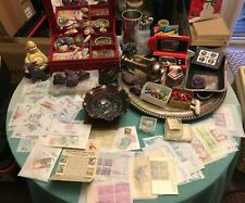 HUGE JUNK DRAWER LOT, COINS, JEWELRY, COLLECTIBLES, STAMPS, SILVER ITEMS