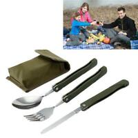 Outdoor Camping Tableware Stainless Steel Folding Fork Blade Spoon Sets Picnic D