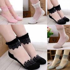 Sexy Women Ankle Socks Elastic Ultrathin Transparent Beautiful Crystal Lace Sock