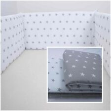 COT BUMPER double-sided STRAIGHT FILLED PADDED FOR COT/COT BED GREY WHITE STARS