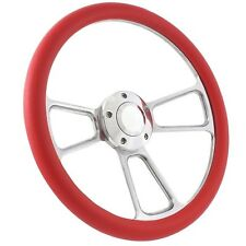 "14"" Marine Boat Red Aluminum Steering Wheel w/ 3/4"" Tapered Key Way Adapter"""