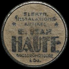 "WERTMARKE: 20 Pf ""E. Max Haufe Großröhrsdorf"". STRASSENBAHN DRESDEN - KAPSELGELD"
