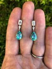 Ultra Exclusive Pair Greenish Blue Paraiba 17.98CT Tourmaline 1.83CT CZ Earrings