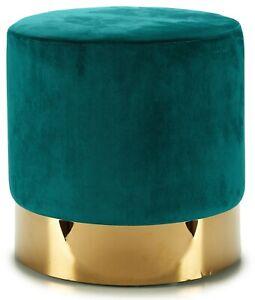 Pouffe Modern Padded Stool Upholstered In Green Velvet On Gold Base Chair