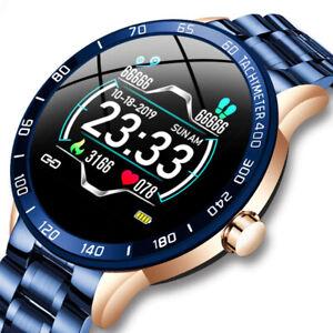 LIGE Steel Band Smart Watch Men Heart Rate Blood Pressure Monitor Sport Multifun