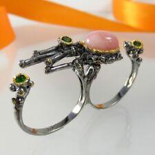 B039 Unikat Opal Chromdiopsid Ring 925 Silber Rhodium Gold verg Handarbeit Gr.56