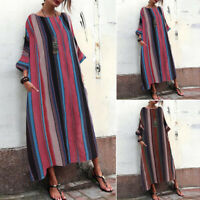 Bohemia Women Batwing Long Maxi Dress Stripe Full Length Shirt Dress Plus Size