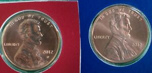2012 P and D Lincoln Shield 2 Coin US Mint Set 1c Blister Pack Two 1c Cent Penny