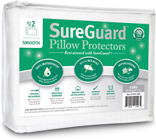 Set of 2 Euro Size SureGuard Pillow Protectors 100% Waterproof Bed Bug Proof
