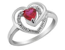 2/5 карат 5 мм Cr. Рубин сердце кольцо с бриллиантами из чистого серебра