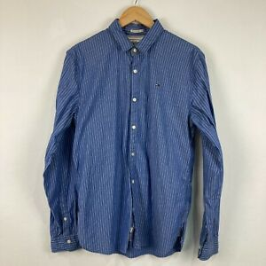 Tommy Hilfiger Mens Button Up Shirt Size L Blue Striped Long Sleeve Collared