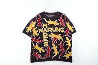 Vintage 90s Streetwear Mens XL Made's Warung All Over Lizard Print T-Shirt Black