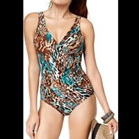 Miraclesuit charming Cheetah Oceanus one piece Swimsuit size 12 tan turquoise