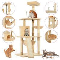 "62"" Cat Tree Tower Condo Scratcher Furniture Kitten Pet House Hammock Beige"