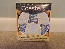 New listing Hawaiian Tiki Ceramic Coasters Set 4 Drink Tableware Tiki Bar Decor Kitchen