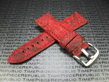 20mm PYTHON Skin Leather Strap Red Band Tang Buckle Seamaster