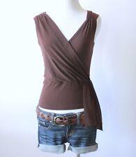 Juniors V Neck Ruch Crossover Faux Wrap Peplum Empire Waist Blouse Shirt Top S M