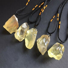 Natural Citrine Raw Gemstone Original Pendant Necklace Charm Jewelry With Rope