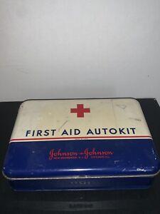 1960's Johnson & Johnson First Aid Auto Kit Vintage Metal Tin