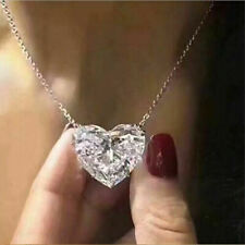 Fashion Heart 925 Silver Necklace Pendant for Women White Sapphire Jewelry Gift