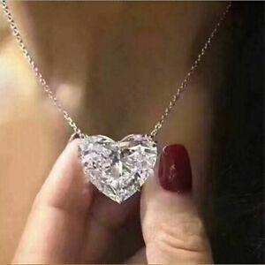 Fashion Heart 925 Silver Necklace Pendant for Women White Sapphire Jewlery Gift
