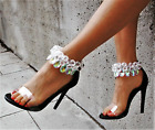 New Womens Clear Lucite Gemstone Ankle Strap Open Toe Stiletto Heel Sandal Shoes