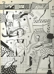 "ASHLEIGH TALBOT ""TRIANGLE SLASH"" 1984 INK DRAWING ON BOARD UNDERGROUND COMICS"