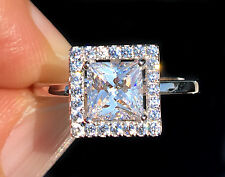 1 ct Princess Halo Ring Top Russian Quality CZ Simulated Mossanite Imitation 11