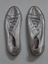 Justice Silver Sparkly Tennis Shoes Sneakers Hip Hop Dance girls size 6
