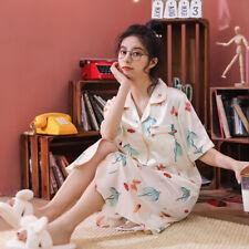 Womens Short Sleeve Silk Satin Sleepwear Nightdress Pajamas Plus Size Sleepshirt
