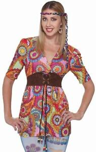 Adult/'s Womens 60s Peace Time Hippie Printed Costume Sublimation Shirt