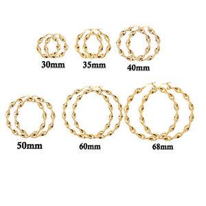 9ct Hallmarked Gold Creole Twisted Diamond Cut Creole Hoop Earrings