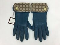 Coach Women's Dark Teal Leather Cashmere Lined Gloves Signature C  Sz.6.5 NWT