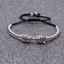 Fashion Men's Rhodium Plated Zircon Panther Leopard Head Beaded Bracelets Gifts