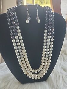 Fresh Water Pearl Three Tone Statement Necklace & Earrings Gray, white & black