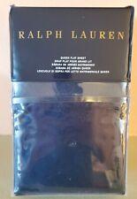 Ralph Lauren BEDFORD JACQUARD Queen Flat Sheet Highland Navy 100% Cotton
