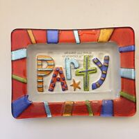 """Fused Glass By Lori Siebert for Silvestri """"Party"""" Serving Tray 6.5"""" x 4.5"""""""