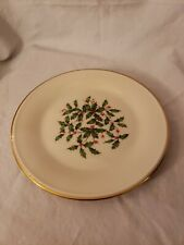 New ListingLenox Usa Special Christmas Holly Berry Holiday Dessert Bread Plate Gold Trim