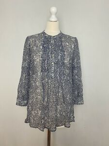 Jigsaw Sz M Blue White 100% Silk Casual Work Long Sleeve Buttoned Blouse