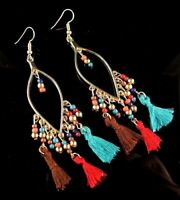Pair of Golden Tear Drop Bohemian Long Multi Colour Tassel Dangle Earrings # 90