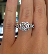 2.00 Ct. Natural Round Cut Twisted Pave Diamond Engagement Ring - GIA Certified