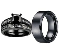 HIS STAINLESS ST BLACK and Her BLACK plated CZ Engage Wedding matching Ring Set