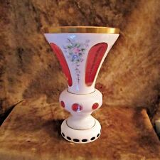 Vintage Bohemian Czech Cased Glass White Overlay Cut to Pink Vase/NICE!!