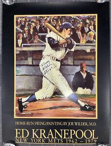 Ed Kranepool Signed Poster 20x26 Home Run Swing Mets Auto Best Wishes Scott TPG