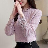 Elegant Blouse Fashion Female Loose Collared Lace Tops Korean Women Long SFB